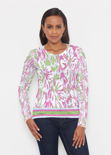 Mystic Floral Stripe (19167) ~ Signature Long Sleeve Crew Shirt