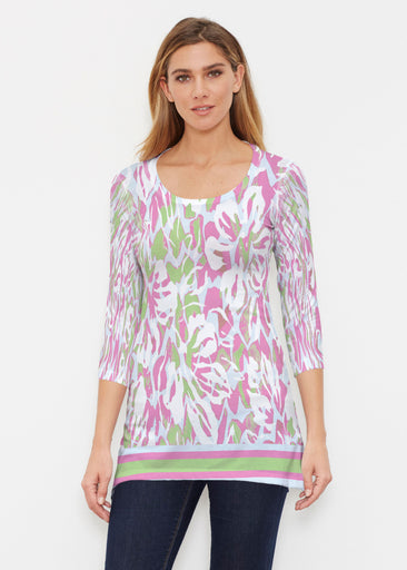 Mystic Floral Stripe (19167) ~ Buttersoft 3/4 Sleeve Tunic