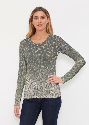 Camo Cheetah Green (2001) ~ Thermal Long Sleeve Crew Shirt