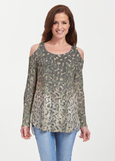 Camo Cheetah Green (2001) ~ Butterknit Cold Shoulder Tunic