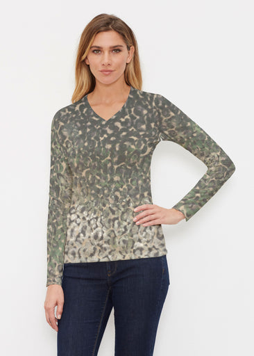 Camo Cheetah Green (2001) ~ Butterknit Long Sleeve V-Neck Top