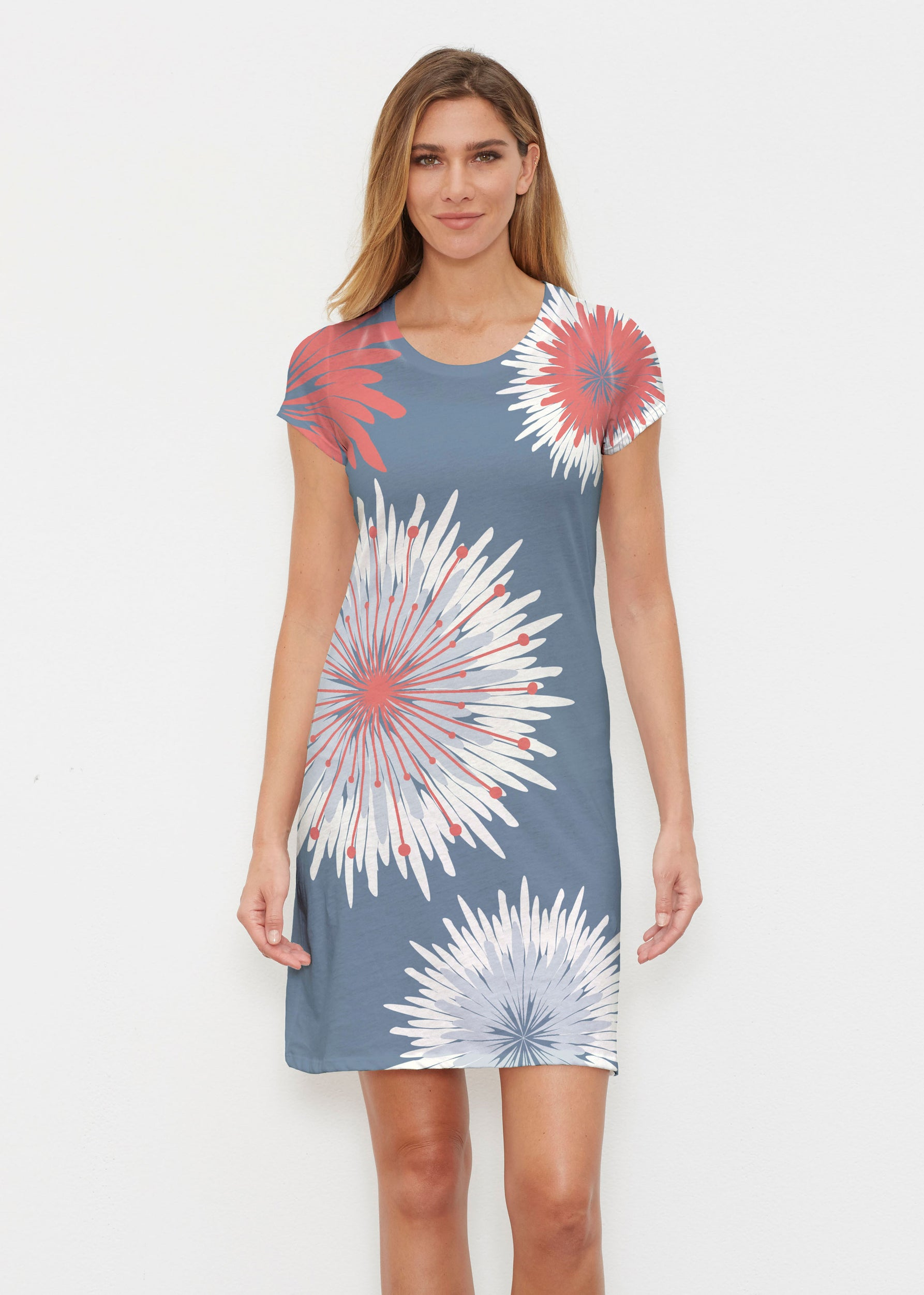 57edac56f Flower Burst RWB (2027) ~ Classic Crew Dress – Whimsy Rose
