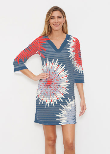 Flower Burst RWB (2027) ~ Banded 3/4 Sleeve Cover-up Dress