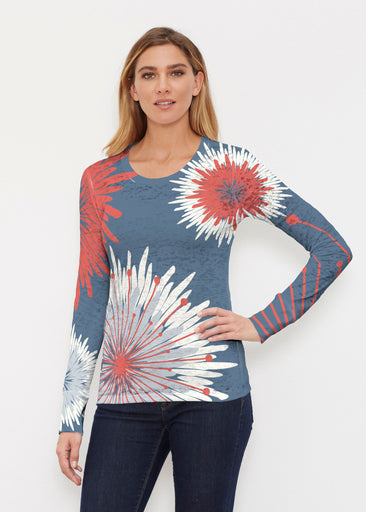 Flower Burst RWB (2027) ~ Thermal Long Sleeve Crew Shirt