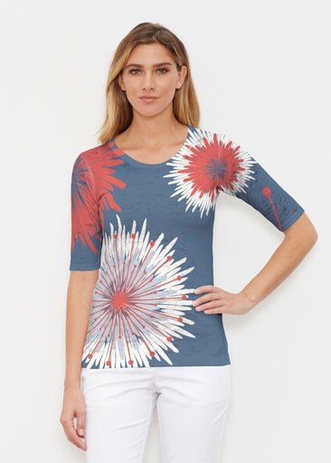 Flower Burst RWB (2027) ~ Elbow Sleeve Crew Shirt