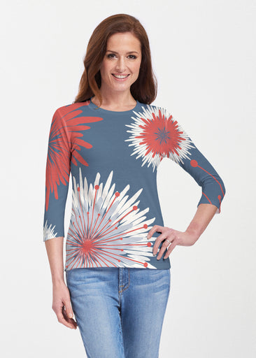 Flower Burst RWB (2027) ~ 3/4 Sleeve Crew
