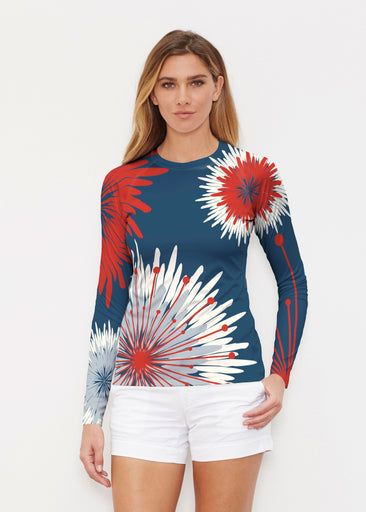Flower Burst RWB (2027) ~ Long Sleeve Rash Guard