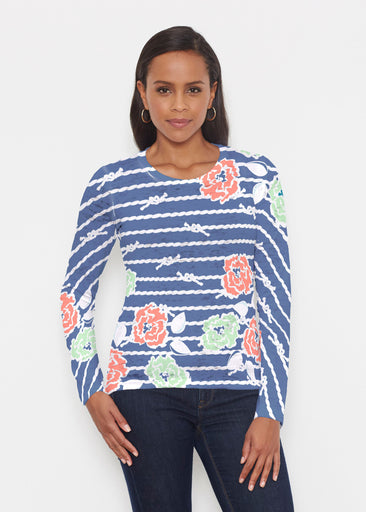 Knots Floral Navy (20270) ~ Signature Long Sleeve Crew Shirt