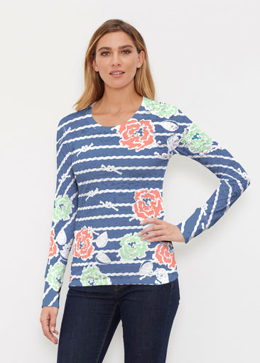 Knots Floral Navy (20270) ~ Thermal Long Sleeve Crew Shirt