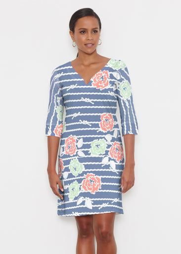Knots Floral Navy (20270) ~ Classic 3/4 Sleeve Sweet Heart V-Neck Dress