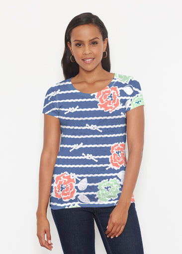 Knots Floral Navy (20270) ~ Short Sleeve Scoop Shirt