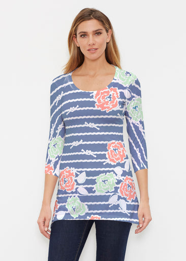 Knots Floral Navy (20270) ~ Buttersoft 3/4 Sleeve Tunic