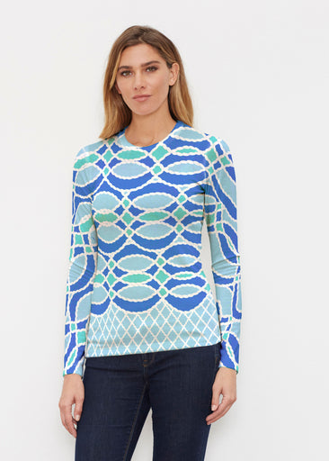 Ropes Blue (20305) ~ Butterknit Long Sleeve Crew Top