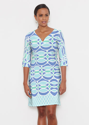 Ropes Blue (20305) ~ Classic 3/4 Sleeve Sweet Heart V-Neck Dress