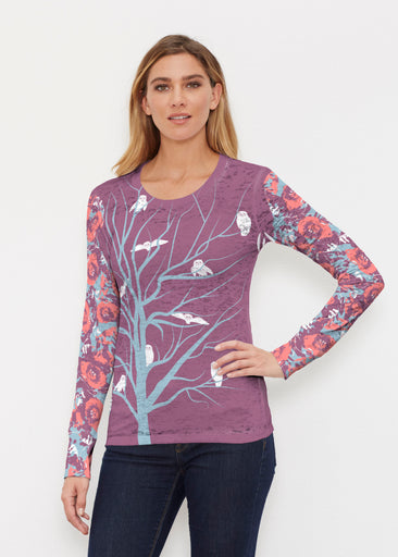 Tree Top Owls (20326) ~ Thermal Long Sleeve Crew Shirt