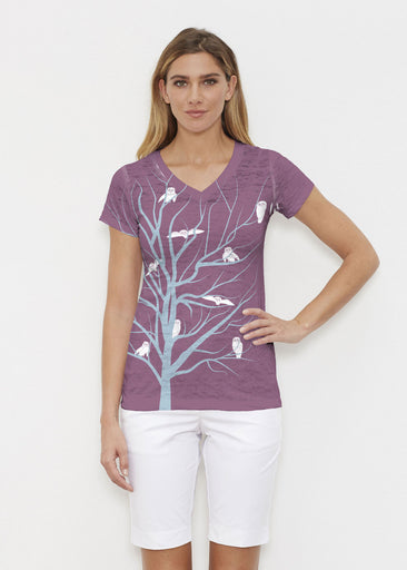 Tree Top Owls (20326) ~ Signature Cap Sleeve V-Neck Shirt Front view