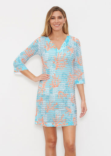 Shoreline Aqua (20332) ~ Banded 3/4 Sleeve Cover-up Dress