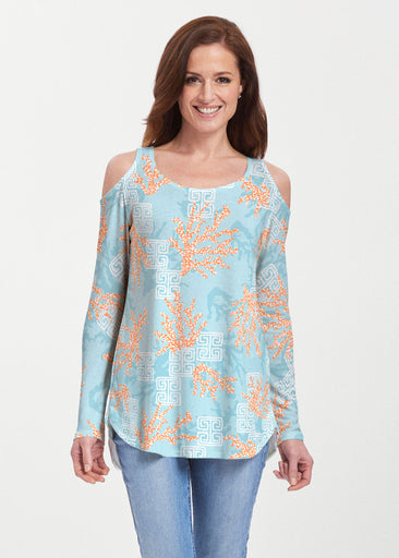 Shoreline Aqua (20332) ~ Butterknit Cold Shoulder Tunic