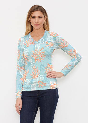 Shoreline Aqua (20332) ~ Butterknit Long Sleeve V-Neck Top