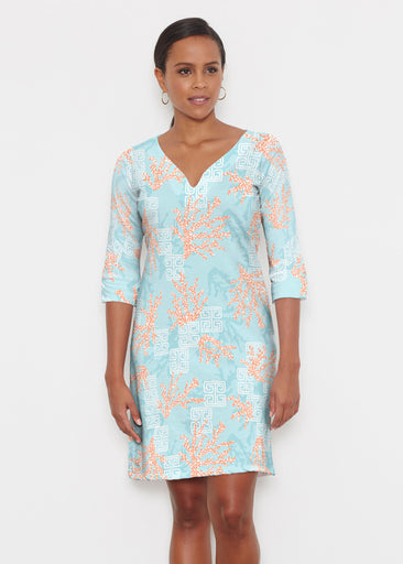 Shoreline Aqua (20332) ~ Classic 3/4 Sleeve Sweet Heart V-Neck Dress