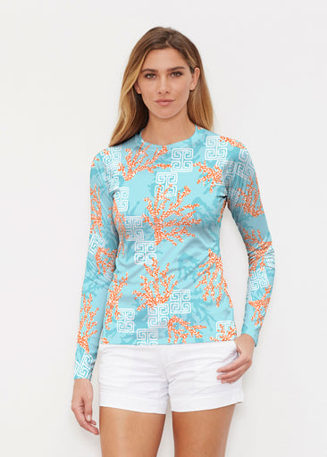 Shoreline Aqua (20332) ~ Long Sleeve Rash Guard