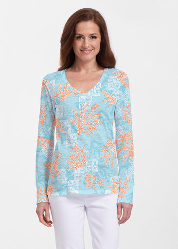 Shoreline Aqua (20332) ~ Thermal Long Sleeve V-Neck Shirt