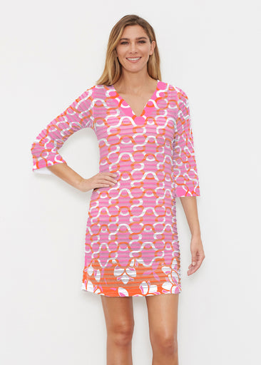 Squiggles Pink (20341) ~ Banded 3/4 Sleeve Cover-up Dress