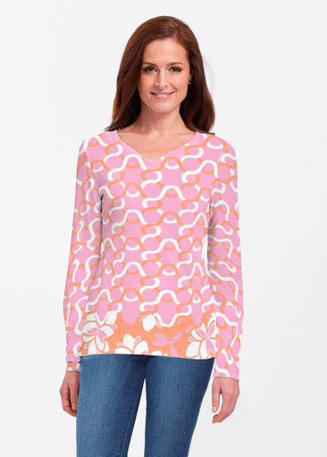 Squiggles Pink (20341) ~ Classic V-neck Long Sleeve Top