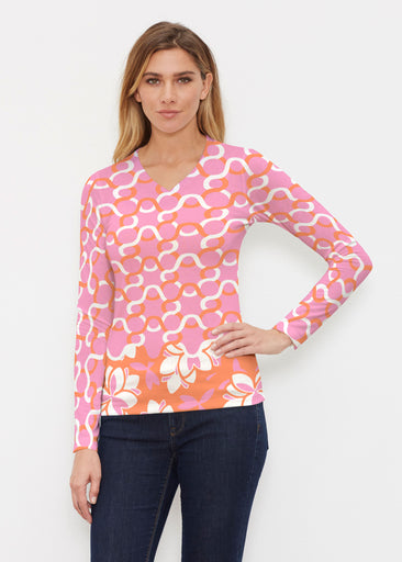 Squiggles Pink (20341) ~ Butterknit Long Sleeve V-Neck Top