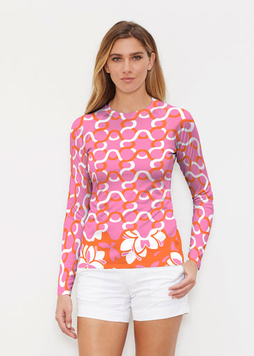 Squiggles Pink (20341) ~ Long Sleeve Rash Guard