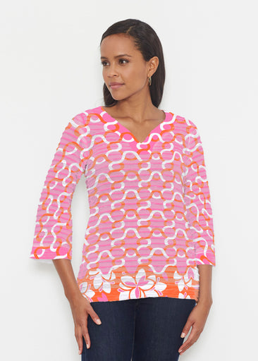 Squiggles Pink (20341) ~ Banded 3/4 Bell-Sleeve V-Neck Tunic
