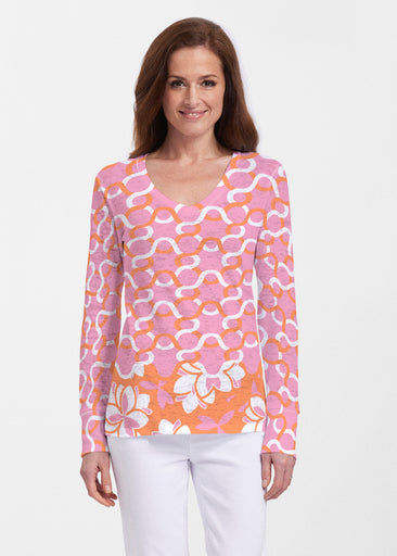 Squiggles Pink (20341) ~ Thermal Long Sleeve V-Neck Shirt