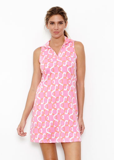Squiggles Pink (20341) ~ Sleeveless Polo Dress