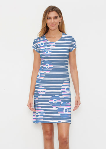 Refracted Poppy Navy (20347) ~ Classic Crew Dress