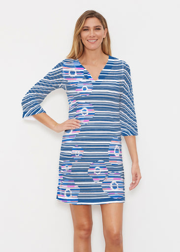 Refracted Poppy Navy (20347) ~ Banded 3/4 Sleeve Cover-up Dress