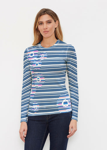 Refracted Poppy Navy (20347) ~ Butterknit Long Sleeve Crew Top