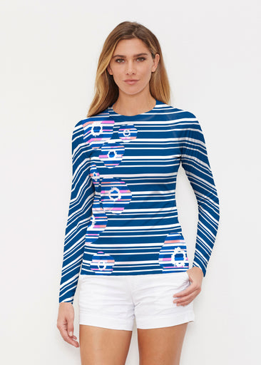 Refracted Poppy Navy (20347) ~ Long Sleeve Rash Guard