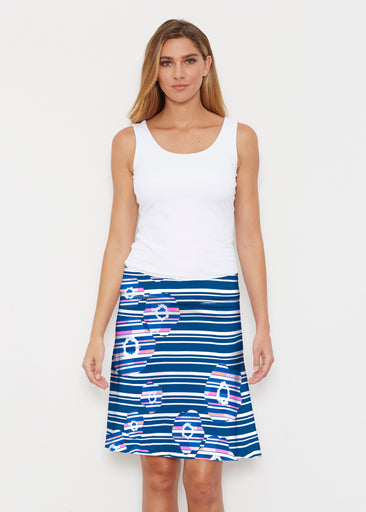 Refracted Poppy Navy (20347) ~ Silky Brenda Skirt 21 inch
