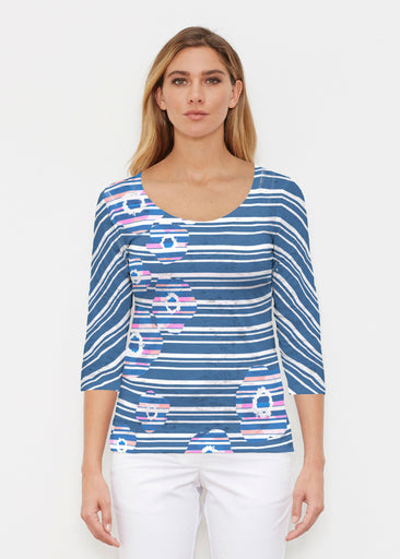 Refracted Poppy Navy (20347) ~ Signature 3/4 Sleeve Scoop Shirt