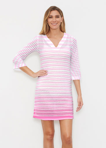 Breton Pink (20348) ~ Banded 3/4 Sleeve Cover-up Dress
