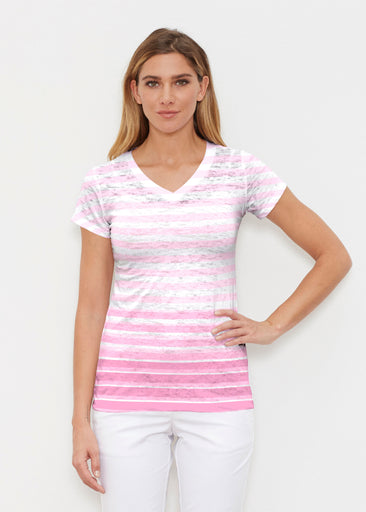 Breton Pink (20348) ~ Signature Cap Sleeve V-Neck Shirt