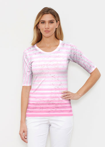 Breton Pink (20348) ~ Elbow Sleeve Crew Shirt