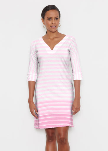 Breton Pink (20348) ~ Classic 3/4 Sleeve Sweet Heart V-Neck Dress
