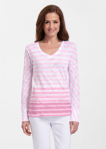 Breton Pink (20348) ~ Thermal Long Sleeve V-Neck Shirt
