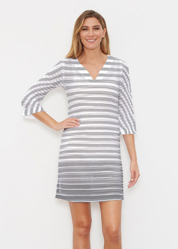 Breton Grey (20349) ~ Banded 3/4 Sleeve Cover-up Dress