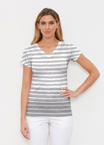 Breton Grey (20349) ~ Signature Cap Sleeve V-Neck Shirt