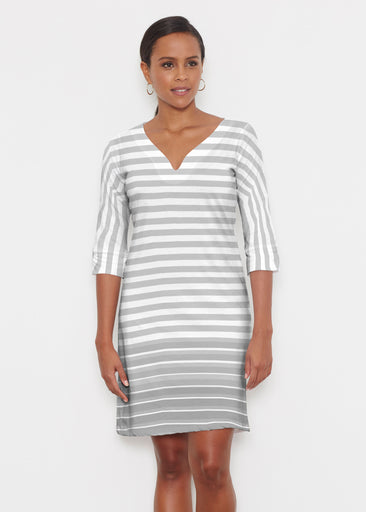Breton Grey (20349) ~ Classic 3/4 Sleeve Sweet Heart V-Neck Dress