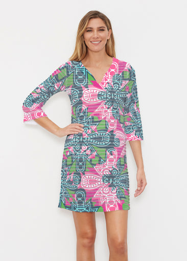 Geo Stamp (20370) ~ Banded 3/4 Sleeve Cover-up Dress