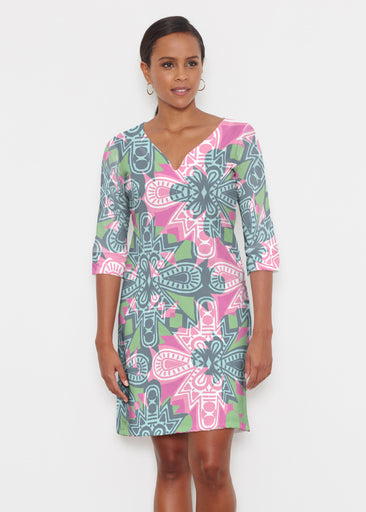 Geo Stamp (20370) ~ Classic 3/4 Sleeve Sweet Heart V-Neck Dress