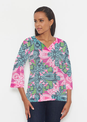 Geo Stamp (20370) ~ Banded 3/4 Bell-Sleeve V-Neck Tunic